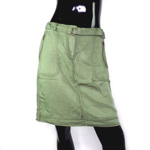 LOFT Olive Green Belted Pencil Skirt with Pockets